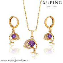62887 Xuping fashion new designed gold plated women set jewelry with many stone