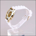 glitter dial gold plated case white silicone strap custom lady watch excellence quartz