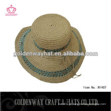 Grandes chapéus de palha de papel de praia flexível para o verão