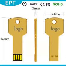 Goldener Metall Schlüsselform Mini USB Flash Drive (EP046)