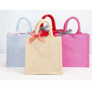 Quality linen handbag with ribbon bow wholesale
