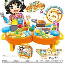 Juguete de plástico de Playhouse de la tienda para la tabla de cena encantadora de la cocina