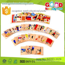 cheapest wooden puzzles OEM occupation match educational puzzle for children MDD-1029