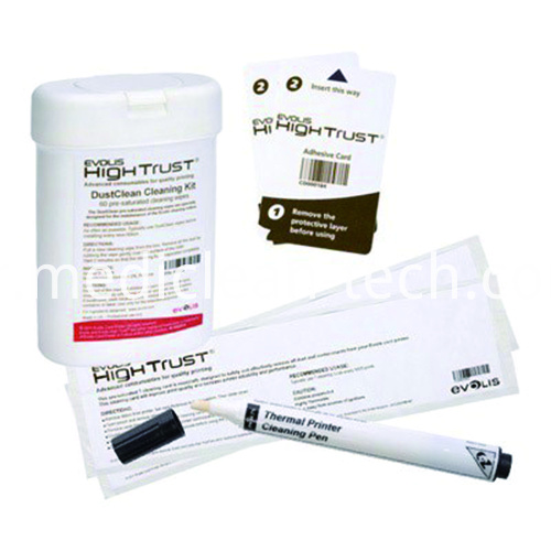 Evolis ACL002 Cleaning Kit Long T Cards, Adhesive Cards, Cleaning Pen, Wipes