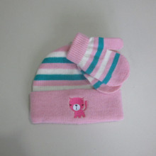 Baby Stripe Cuff Beanie And Magic Gloves
