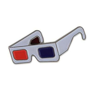 3D Movie Glasses Enamel Diestruck Lapel Pin