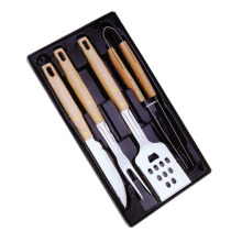 4pcs wooden handle barbecue accessories