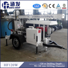 Hf120W Trailer Mounted Hydraulic Water Well Drilling Rig 120m Depth