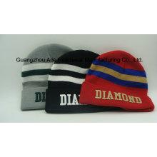 Broderie Stripe Coloftul Jacquard Acrylique Knitting Hat Cap (ACEK0079)