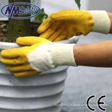NMSAFETY travail léger utiliser la nature interlock enduit gants en latex dos ouvert