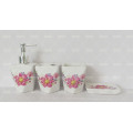 Conjunto de baño decorativo de flores