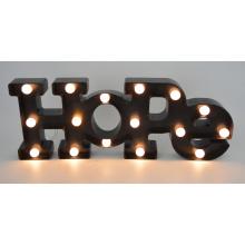 Carta de plástico de esperança com LED para decoração de casa