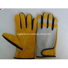 Luva de couro-luva de segurança luva de luva-amarelo luva-luva industrial