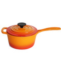 7.5 inch no stick cast iron two handle saucepan with lid