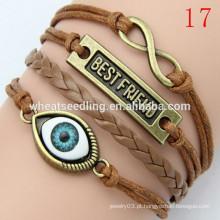 Nova chegada coruja bracelete de couro trançado múltiplo LB20