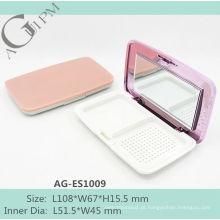 Retangular compacto pó caso/compacto pó recipiente com espelho AG-ES1009, embalagens de cosméticos do AGPM, cores/logotipo personalizado