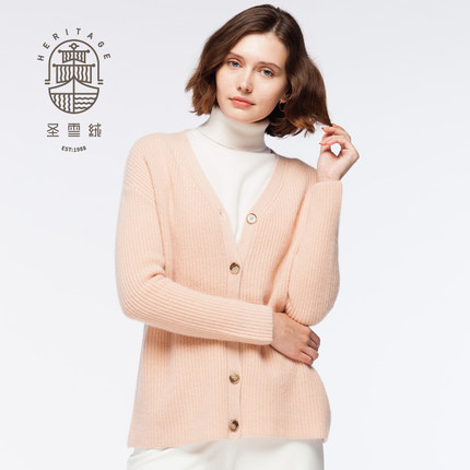 Cardigan con collo a V in cashmere da donna