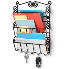 Scroll Wall Mount Letter Holder in Black