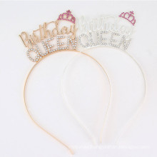 Bandeau fascia per capelli Rhinestone Alloy Crown Headband Luxury Hair Accessories Korean Letter Birthday Wedding Hairband for Woman Girl Gift Dropshipping