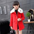 Inverno 2016 casacos meninas casacos longos para véspera de Natal vestidos de festa crianças atacado casacos de pele trespassado jaquetas