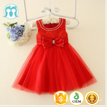 2017 baby girl party dress children frocks designs sleeveless bow beads 3 year old girl dress