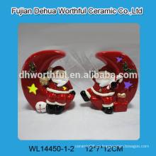 Cerámica adornos navideños, de cerámica santa y la luna para la luz led
