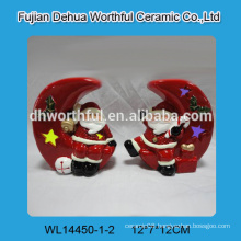 Ceramic christmas ornaments,ceramic santa and moon for led light