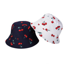 Ins Spring and Summer Fisherman Hat Cotton Breathable Hat Cherry Print Double-Sided Basin Hat