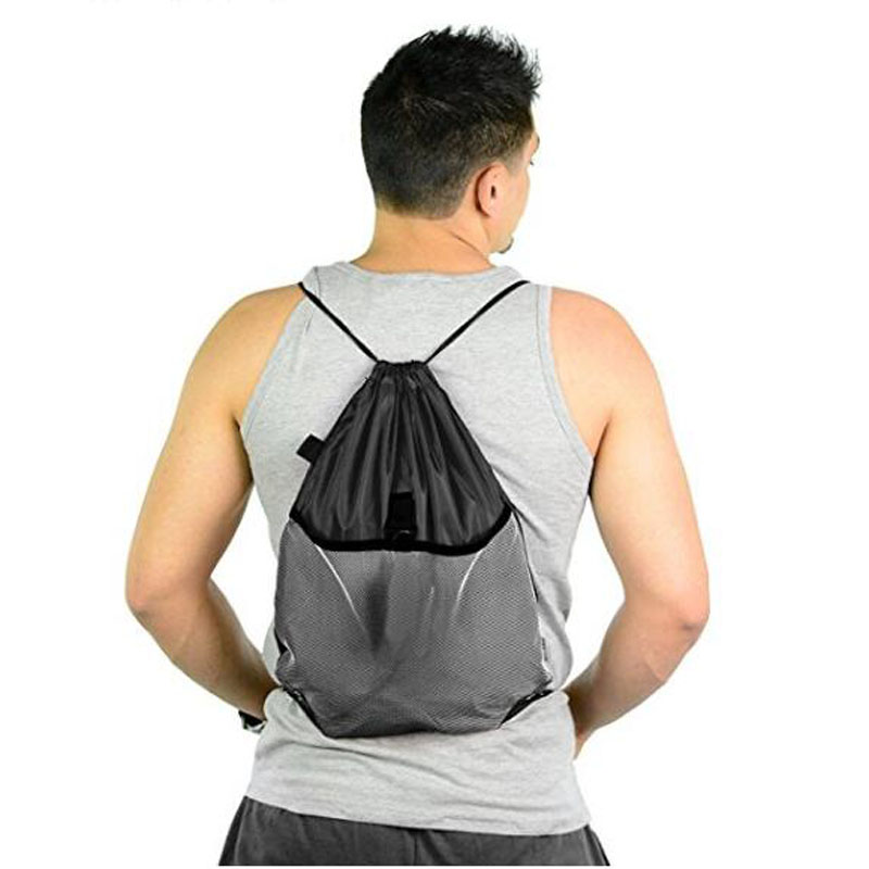 Grey Drawstring Backpack