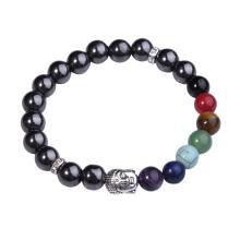 7 Chakra Gemstone Buddhism & Buddha Alloy Crystal Hematite Bracelet