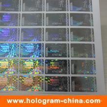 Etiqueta engomada transparente del holograma del número de serie del laser 3D de la seguridad