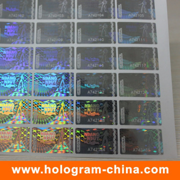 Anti-Fake DOT Matrix Transparent Serial Number Hologram Sticker