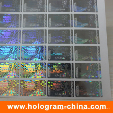 Anti-Fake Security Transparent Serial Number Hologram Sticker