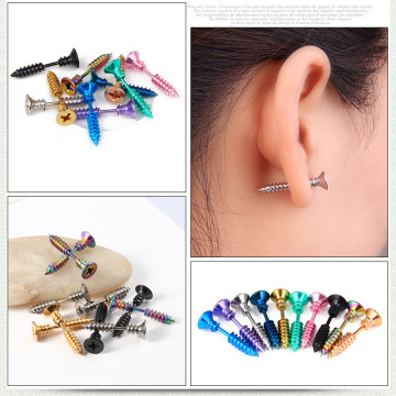 Stud Screw Earrings Untuk Wanita