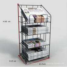 Kundenspezifische Design Pulverbeschichtung Metalldraht Zeitung Display Stand