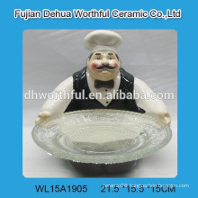 Ceramic chef cake plate w/ glass dish for kitchen