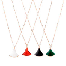 European American Jewelry Black Red Green White Small Skirt Fan-Shaped Pendant Clavicle Chain Titanium Steel Stainless Steel Non-Fading Necklace for Women