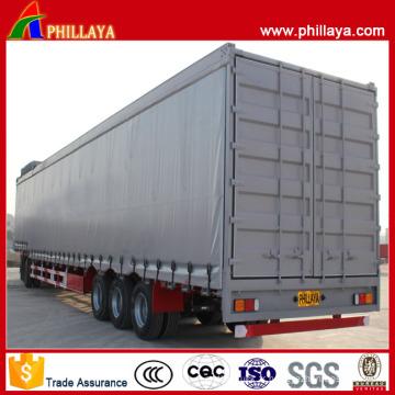 Semi-remorque de côté de rideau de transport de cargaison de lit de 3 axes