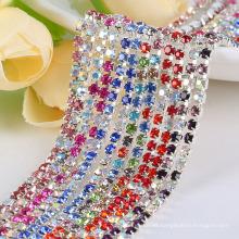 ss10 diamantes de imitación de cristal AAA en base de plata, accesorios de ropa de lujo cosen en el recorte