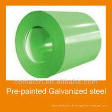 Bobine d'acier galvanisé pré-peint pour construction de toiture