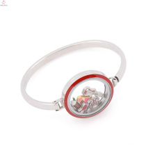Fashion 30mm floating charm enamel red top face glass stainless steel locket bracelet bangle