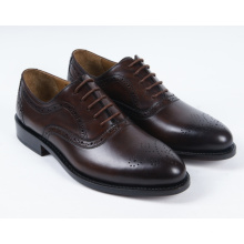 Dark Brown Genuine Leather Flat Mens Business Shoes (NX 428)