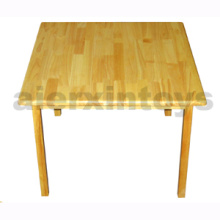 Wooden Square Table Made of Solid Rubber Wood