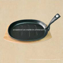Preseasoned Cast Iron Sizzler Pan with Wooden Base