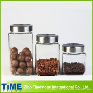 Large Storage Square Jar Set with Lid