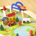 Venda quente de madeira quebra-cabeça ferroviário tran educação brinquedo