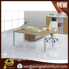 Aluminium base L shape office table with mobile
