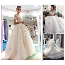 Alibaba New Design Color Puffy Long Sleeve Flower Appliqued Vestidos Luxurious Embroidery Lace Wedding Dress 2016 A160
