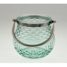 New Design Glass Candle Holder with Handle for Spring