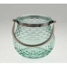 Novo design vidro titular da vela com alça para a primavera